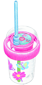 Sip & Spin Pink Butterfly Style Straw Cup