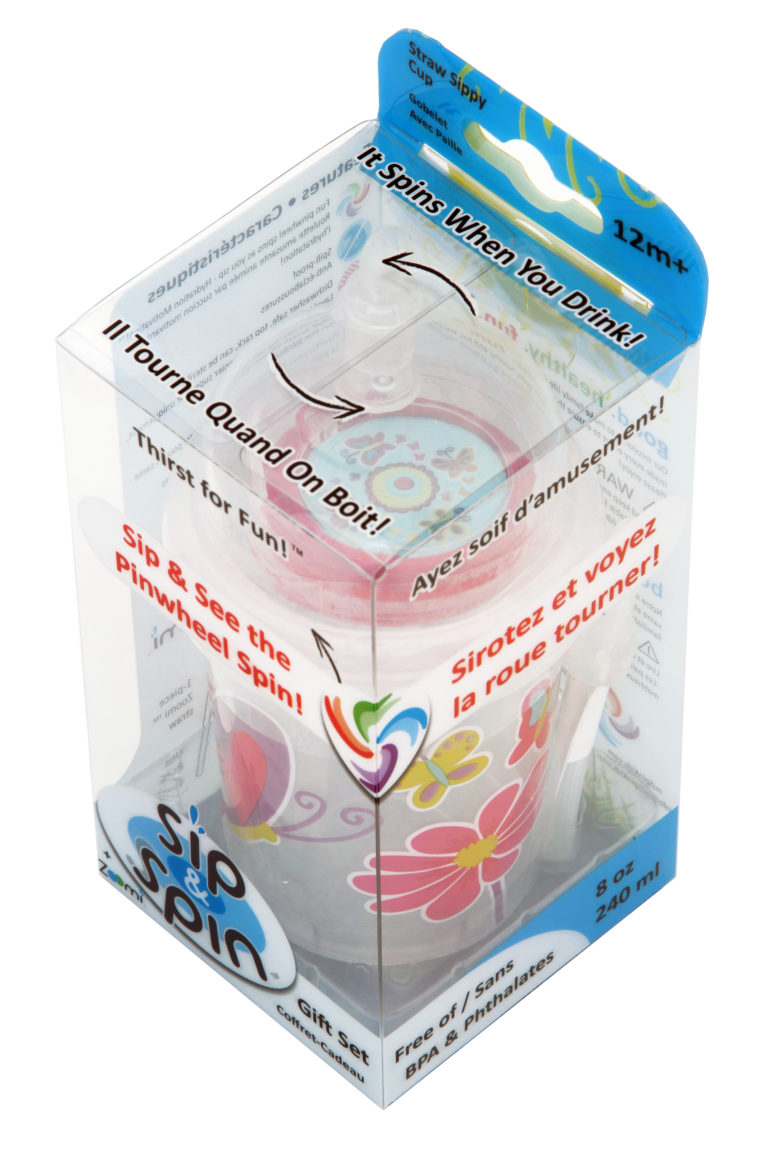 nuSpin Kids Sip & Spin + Zoomi Straw Cup Set, shown in Butterflies Style with clear Retail Gift Package.