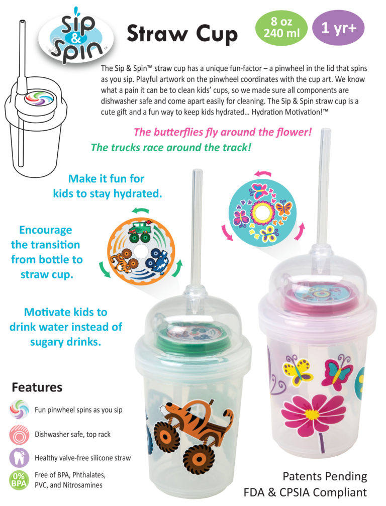 nuSpin Kids Sip & Spin Straw Cup 2015 Catalog Product Page
