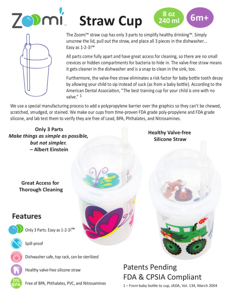 nuSpin Kids Zoomi Straw Cup 2015 Catalog Product Page