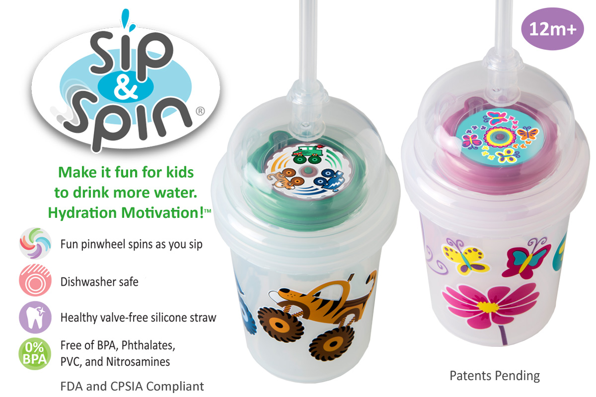 nuSpin Kids Sip & Spin Straw Cups have a pinwheel that spins as you sip. These cups make it fun for kids to stay hydrated. They are also dishwasher safe, and free of BPA, Phthalates, PVC, and Nitrosamines.