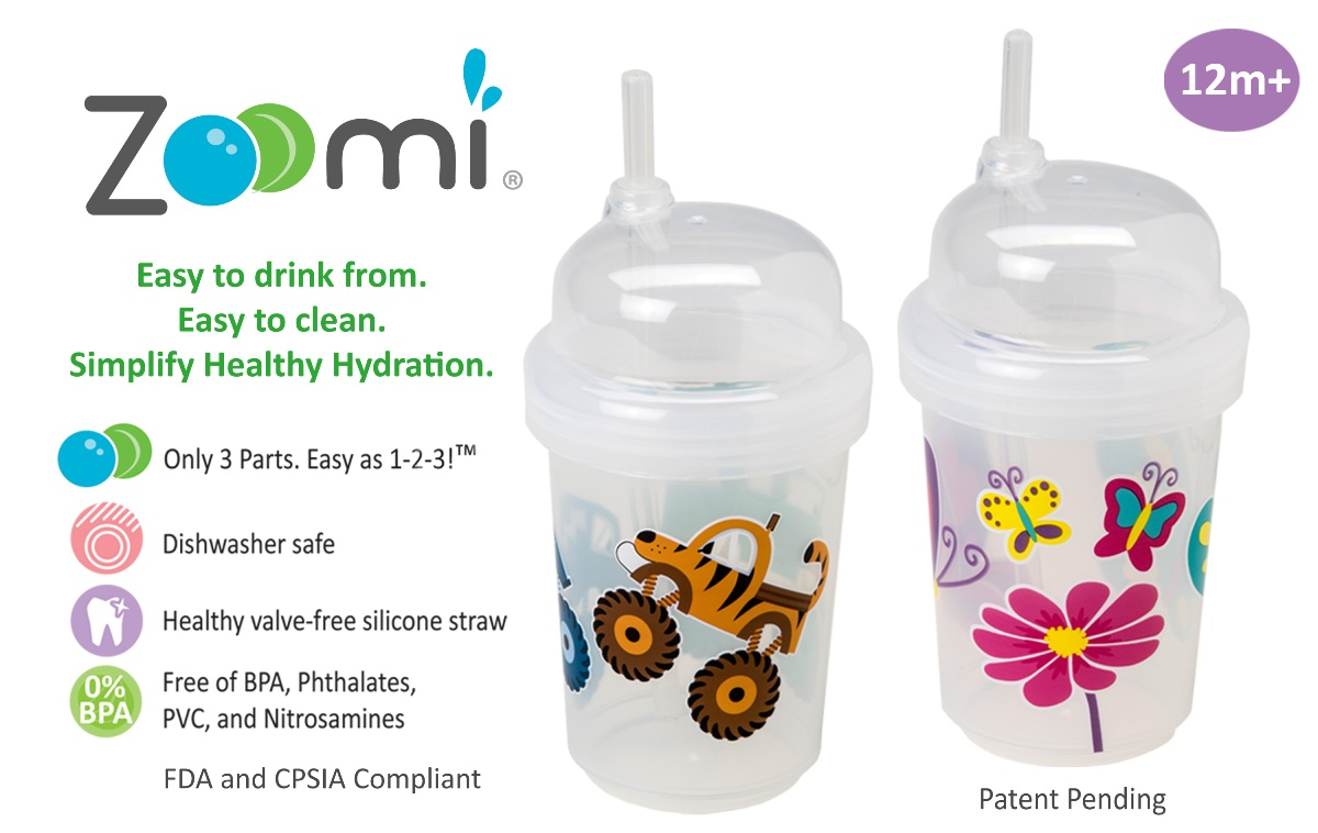nuSpin Kids Zoomi Straw Cups have only 3 parts - Easy as 1-2-3! These valve-free straw cups are easy to drink from and simple to clean. They're also dishwasher safe, and free of BPA, Phthalates, PVC, and Nitrosamines.