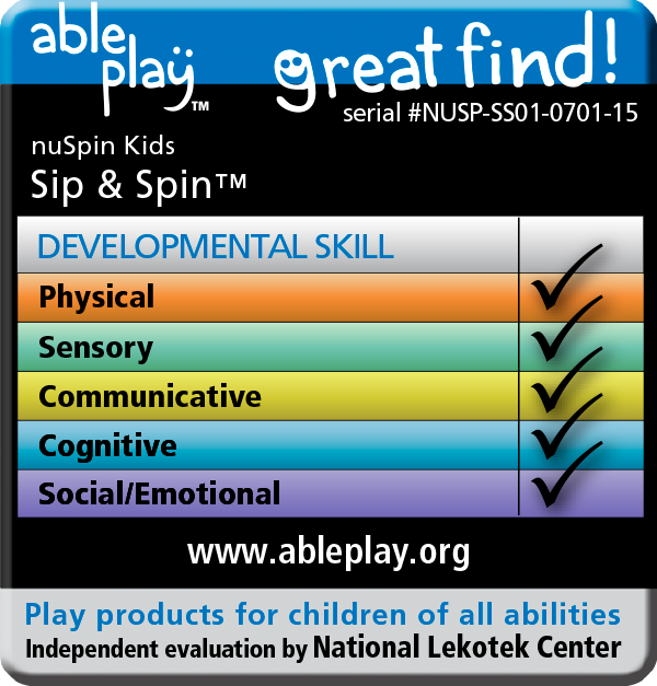 Able Play ratings seal for the Sip & Spin straw cups. This great find is useful for developing physical, sensory, communicative, cognitive, and social/emotional skills.