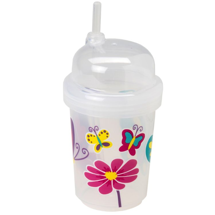 nuSpin Kids - Zoomi Straw Cup, shown in Butterflies Style.
