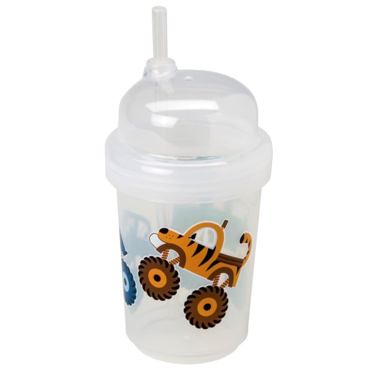 "nuSpin Kids - Zoomi Straw Cup, shown in ""Monster"" Trucks Style."