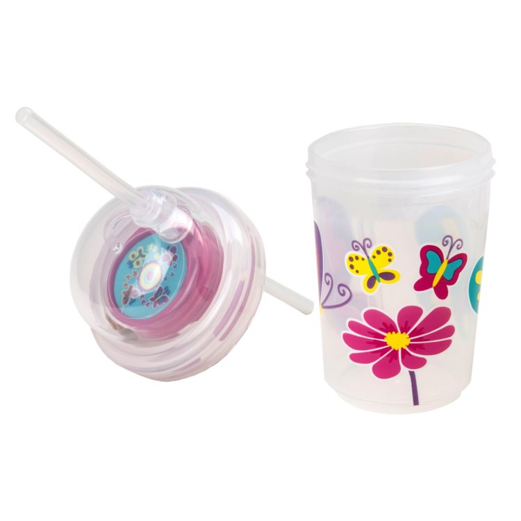 nuSpin Kids - Sip & Spin Straw Cup Trainer, shown in Butterflies Style with the Lid Off.