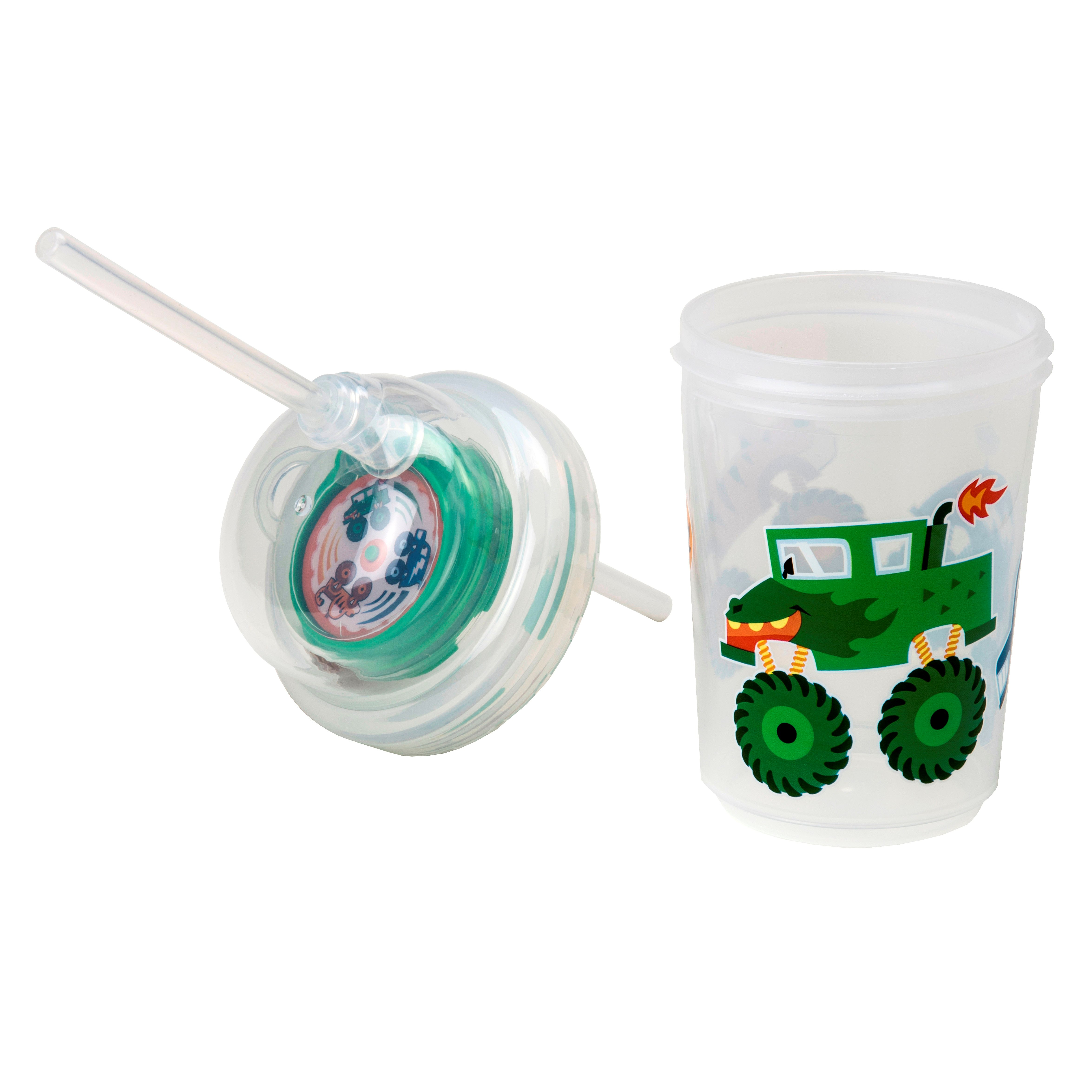 "nuSpin Kids - Sip & Spin Straw Cup, shown in ""Monster"" Trucks Style with the Lid Off."