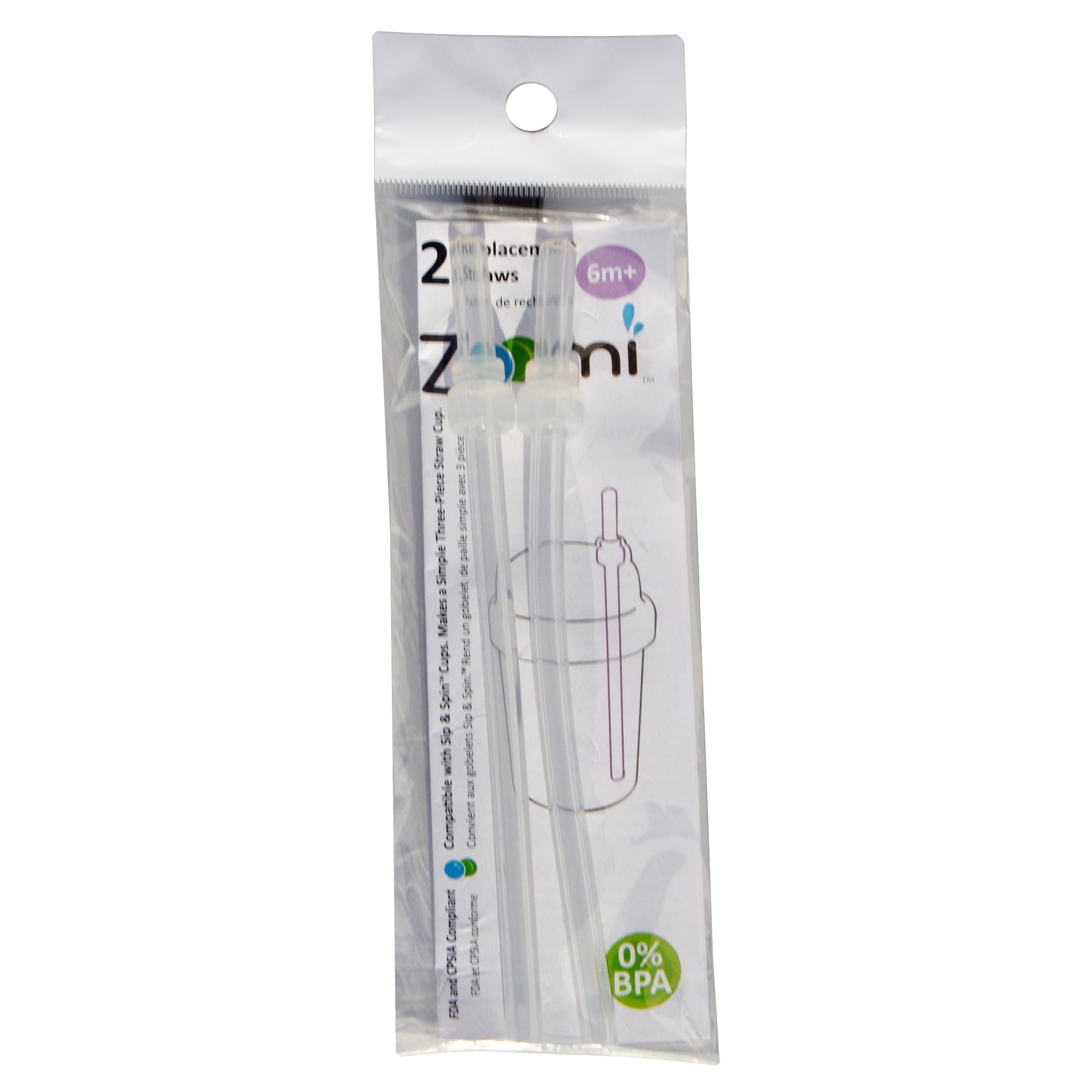 Replacement straw set for Zoomi straw cup - Package of 2