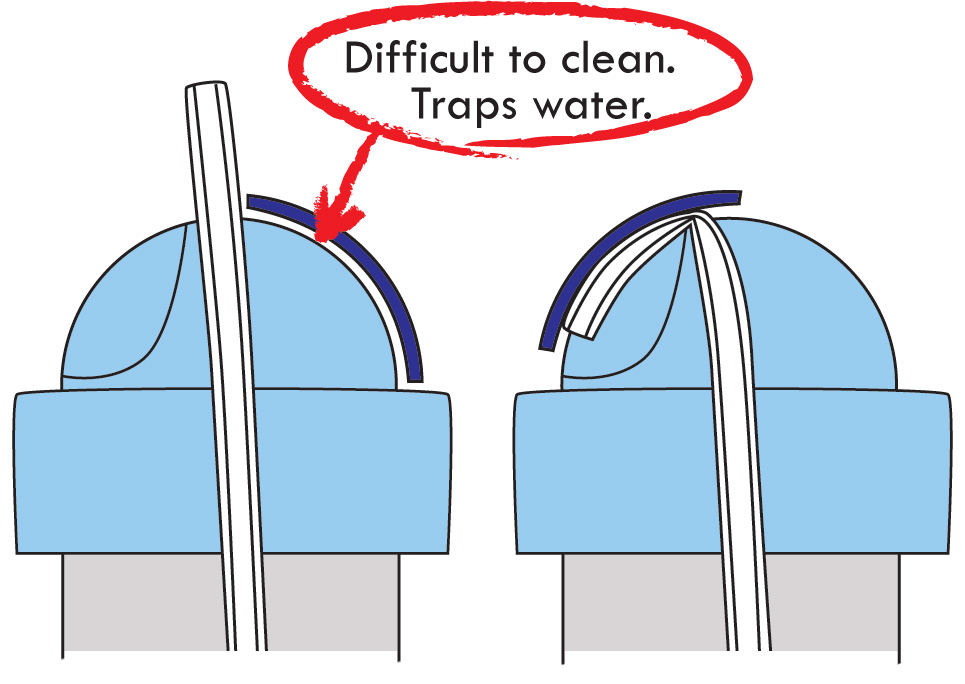 A straw sippy cup is shown with a standard sliding travel valve. The travel valve slides to close the straw off so the cup doesn't leak when stored in a bag for travel. However, the travel valve is difficult to clean and traps water and food particles, and can harbor grime and mold.