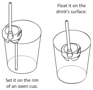 The Sip & Spin straw sits on the rim of standard glasses, or floats on drink's surface.