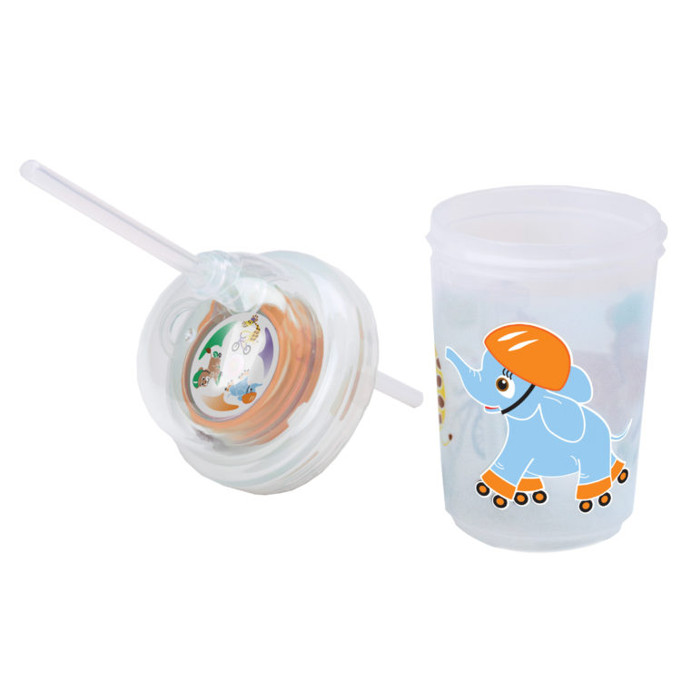 nuSpin Kids - Sip & Spin Straw Cup, shown in Safari Animals Style with the Lid Off.