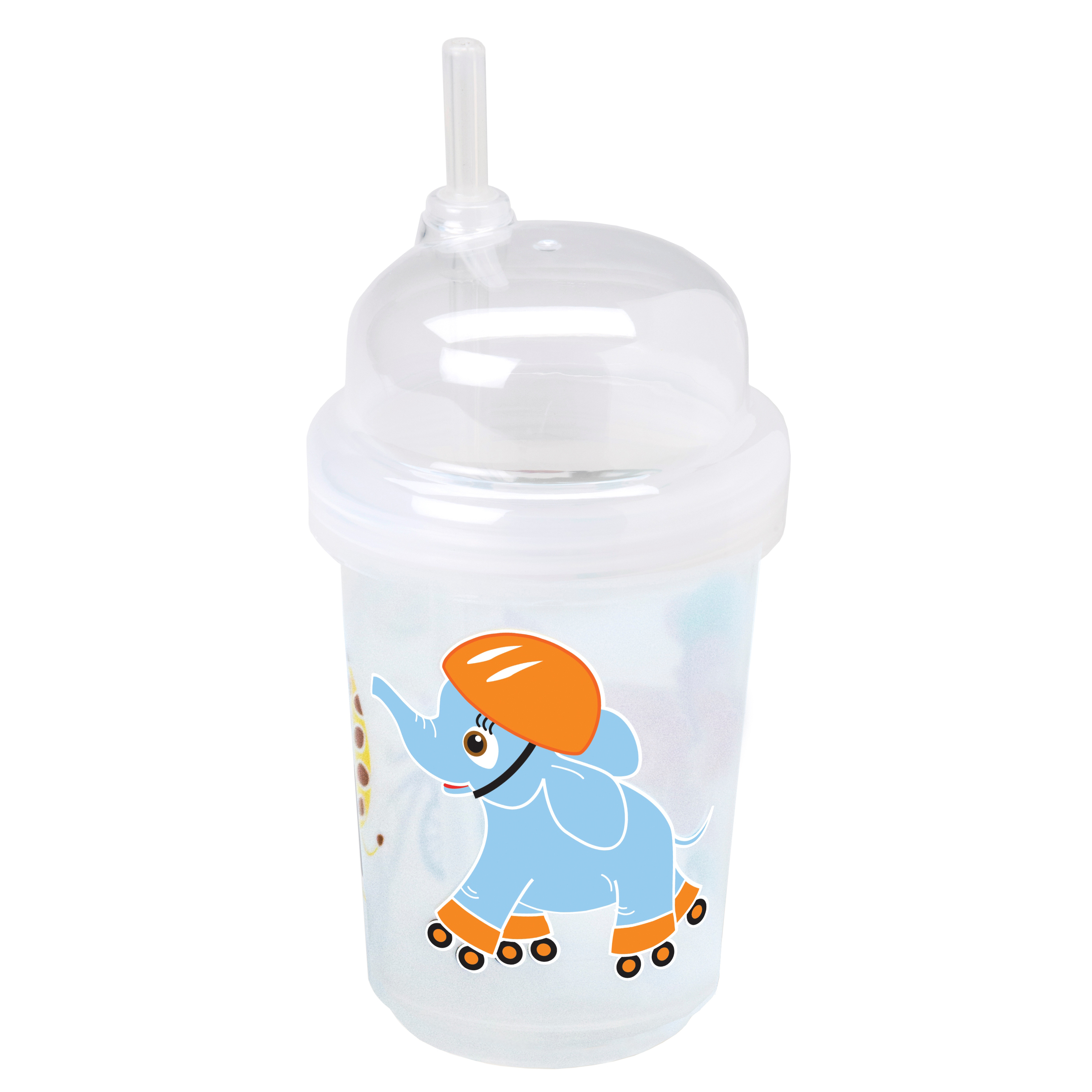nuSpin Kids - Zoomi Straw Cup, shown in Safari Animals Style.